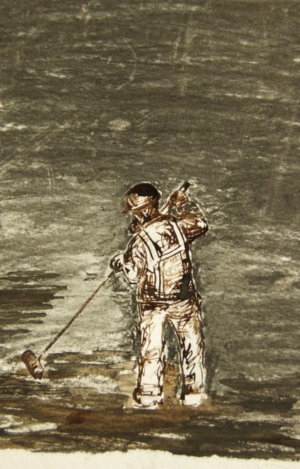 Le grand nettoyage, Fusain et encre sur papier, 22 x 16 cm, 2018.